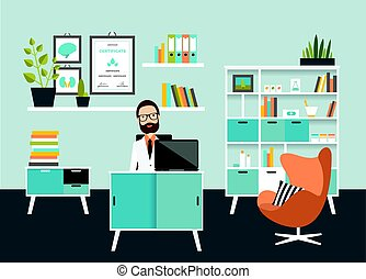 Doctor office workplace. Flat vector illustration.