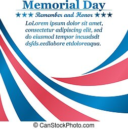 Memorial Day background with ribbons of the color of the USA...