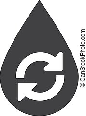 Water drop recycle icon in black on a white background. Vector illustration