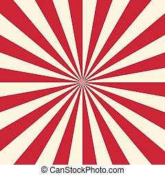 Red and white sun rays background. Vector illustration