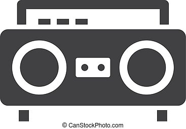 Boom box icon in black on a white background. Vector...