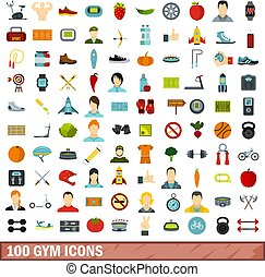 100 gym icons set, flat style - 100 gym icons set in flat...