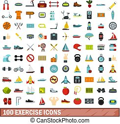 100 exercise icons set, flat style - 100 exercise icons set...