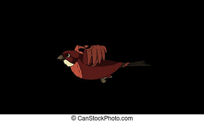 Brown Bird Flies. Animated Looped Motion Graphic with Alpha...