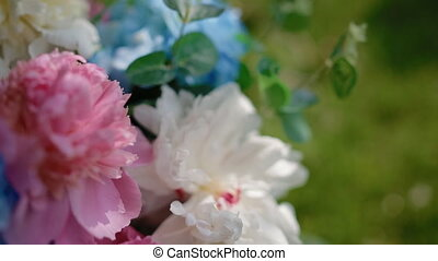 Wedding decoration. Bouquet with colorful peony. - Wedding...