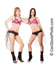 go-go dancers isolated on white background