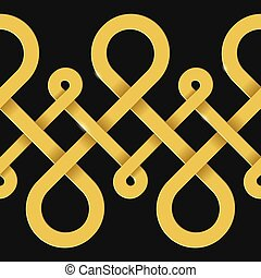 Endless golden loops abstract background - Vector background...