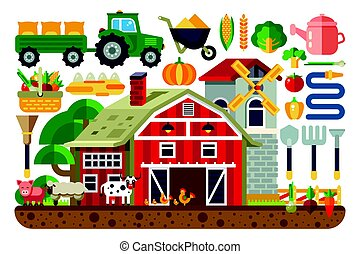 Stock vector illustration set of icons for farm business,...