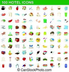 100 hotel icons set, cartoon style