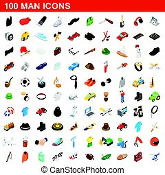 100 man icons set, isometric 3d style - 100 man icons set in...