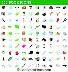 100 book icons set, cartoon style