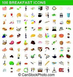 100 breakfast icons set, cartoon style - 100 breakfast icons...
