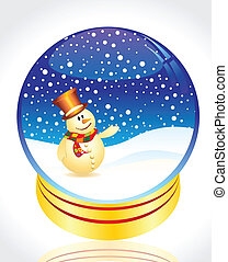 snow man with christmas globe