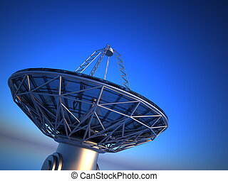 Parabolic antenna radio telescope - this is a 3d render...