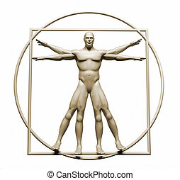 Body  in vitruvian - this is a 3d render illustration