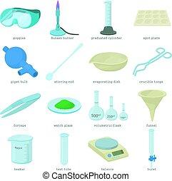 estilo, iconos, Conjunto, químico, laboratorio,...