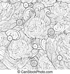Abstract vector hand drawn nature floral seamless pattern