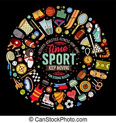 Vector hand drawn set of Sport cartoon doodle objects -...