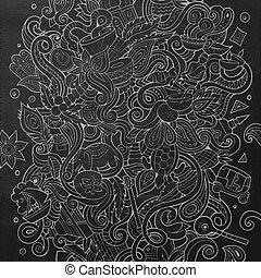 Cartoon cute doodles hand drawn India illustration