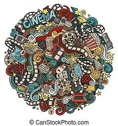 Cartoon cute doodles hand drawn Cinema illustration....