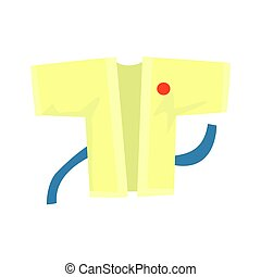 Kimono with a blue belt, martial arts clothing. Colorful...