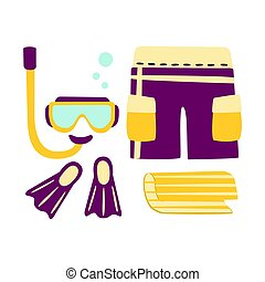 Shorts, fins, snorkel and mask for diving. Colorful cartoon Illustration