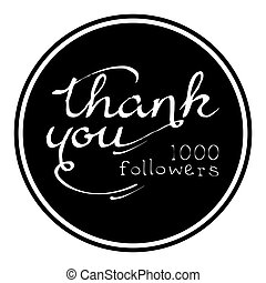 Thank you, one thousand followers round label, vector...