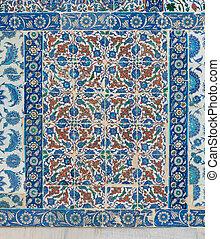 azul, peru, azulejos, antigas, sultão, parede, Padrão, Cerâmico, Istambul,  eyup, histórico, mesquita,  exterior,  floral