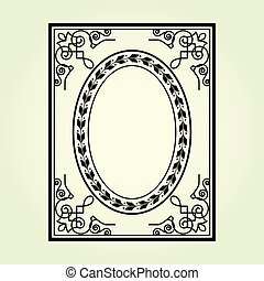 Oval frame with ornate curly corners