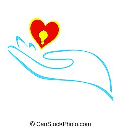 Realizing Love - Stylized hand holding a heart with...