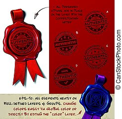 Wax Seal - Authenticity Stamp - Vector Illustration of a wax...