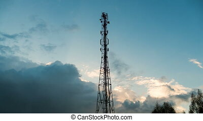 Antenna telecommunications tower on the background of the...