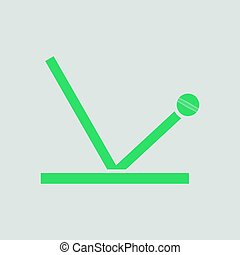 Cricket ball trajectory icon. Gray background with green....