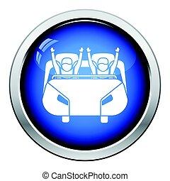 Roller coaster cart icon. Glossy button design. Vector...