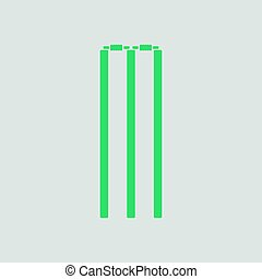 Cricket wicket icon. Gray background with green. Vector...