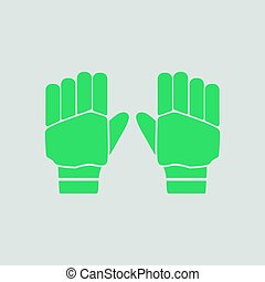 Pair of cricket gloves icon. Gray background with green....