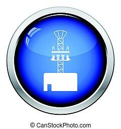 Free-fall ride icon. Glossy button design. Vector...