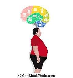 Fat man think with junk food icon