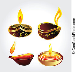 diwali deepak set vector illustration