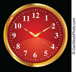abstract red clock icon with golden