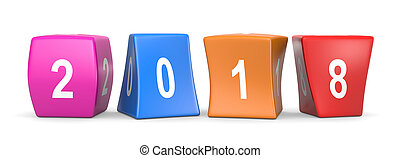 2018 Funny Cubes - 2018 White Text on Colorful Deformed...