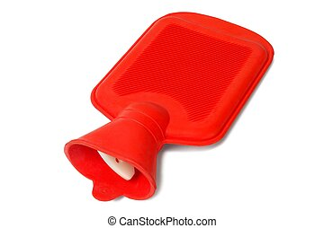 Rubber hot water bottle on white background