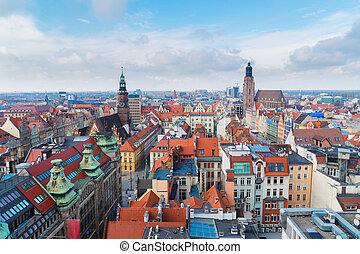 roofs of Wroclaw - panorama of Wroclaw - bird eye view of...