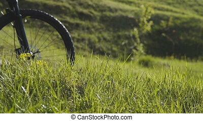 Man Riding Bicycle up Mountain Grass Hill