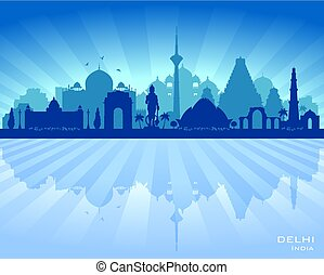 Delhi India city skyline vector silhouette illustration