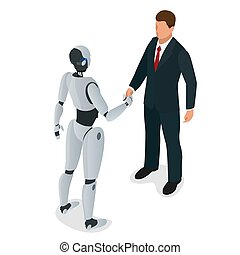 Men and robot greet or confirm a deal, handshake. Flat 3d isometric vector illustration. For infographics and design