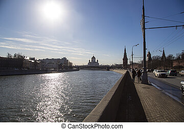 Moskow (Moskva) River embankment and Christ the Savior...