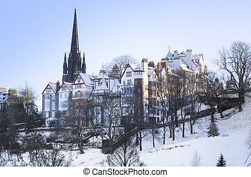 Edinburgh in the Snow - Beautiful old Edinburgh under a...