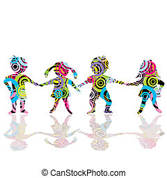 Colored children made of circles