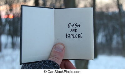 Get out and explore text. Travel idea. Book and text. - Get...